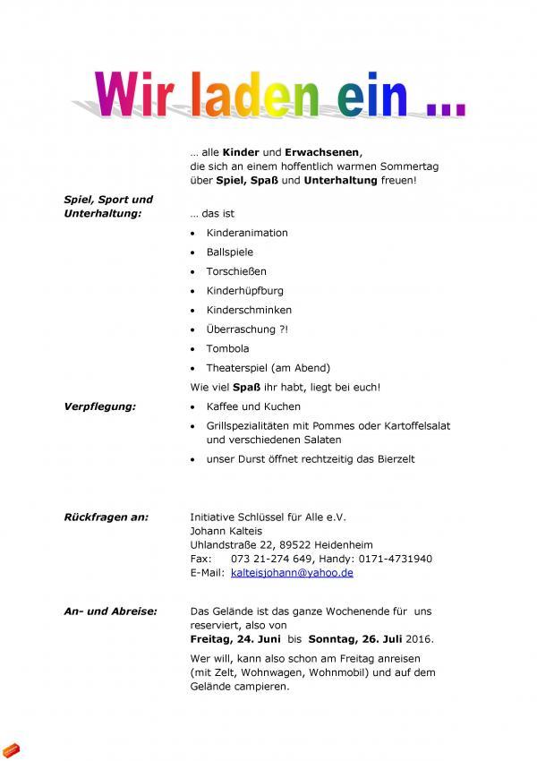 initiative schlüssel für alle e.v. - sommerfest mit spiel, sport, Einladung