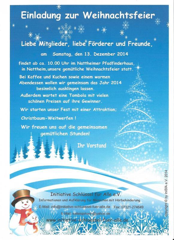 Weihnachtsfeier Im Januar.Initiative Schlüssel Für Alle E V Attraktion Christbaum Weitwerfen