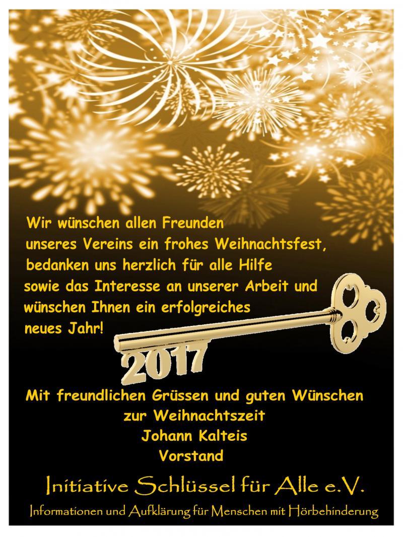 Initiative Schlüssel für Alle e.V. - Neujahrswünsche an alle